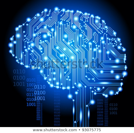 Artificial intelligence, Cybernetic Brain, Binary code. Vector illustration. Stock photo © Leo_Edition