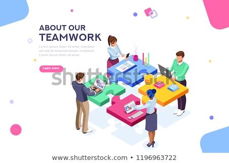 Izometrikus együttműködés szalag üzletember kézfogás egyéb Stock fotó © Genestro