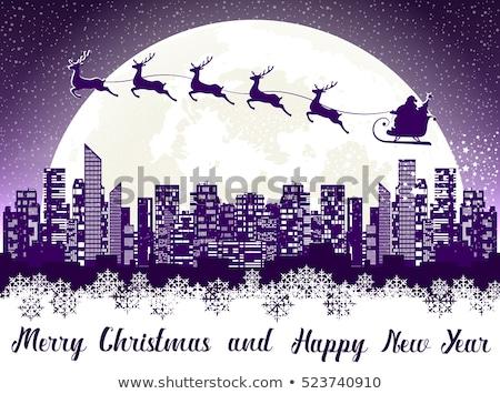 Kerstman kerstboom hoog silhouet sparren Stockfoto © popaukropa