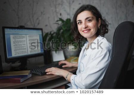 lekarza · stałego · monitor · komputerowy · kobieta · muzyka · portret - zdjęcia stock © monkey_business