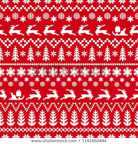 Piros díszes minta végtelenített karácsony csomagolás Stock fotó © orensila