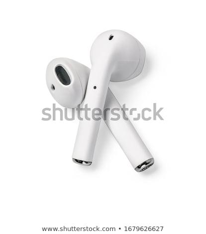 Fehér modern fejhallgató tabletta rózsaszín felső Stock fotó © Lana_M