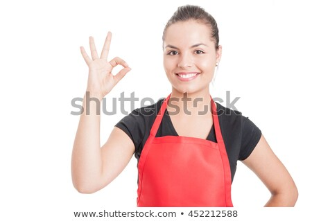 магазине сотрудников красный равномерный положительный женщины Сток-фото © toyotoyo
