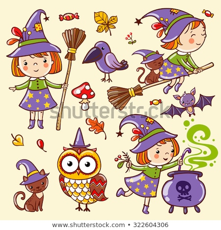 Cute Halloween pattern with girl witch, cats, owls Stock photo © Pravokrugulnik