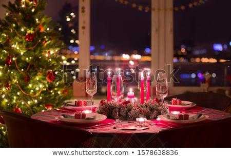 karácsony · ebédlőasztal · fehér · porcelán · tányérok · csecsebecse - stock fotó © karandaev