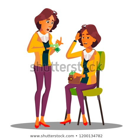 Sad Woman Counts Cash In Her Hands Vector. Isolated Illustration Stock photo © pikepicture
