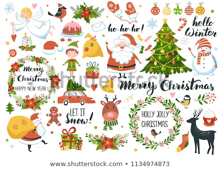 merry christmas gingerbread tree lettering text greeting card stock photo © orensila