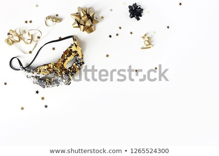 black and gold carnival mask top view stock photo © illia