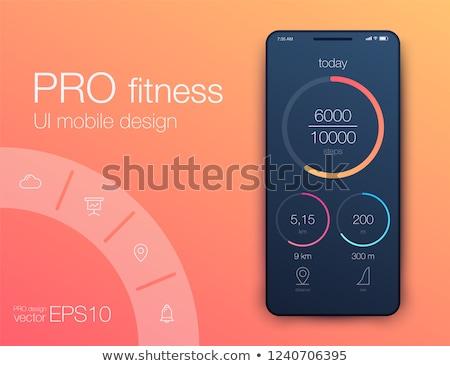 Smartwatch health tracker app interface template. Stock photo © RAStudio