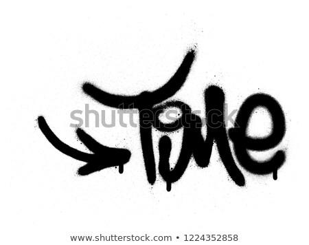Grafite tempo palavra preto e branco arte grafite Foto stock © Melvin07