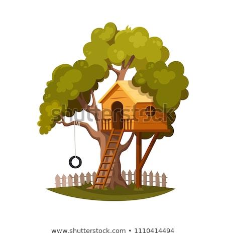 Foto stock: Crianças · brincando · parque · ilustração · criança · paisagem · jardim
