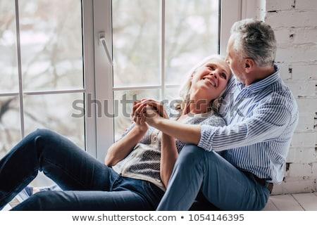 привязчивый привлекательный пожилого пару сидят вместе Сток-фото © Lopolo