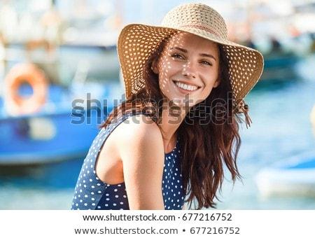 Nő nyár kalap fehér izolált tengerpart Stock fotó © OleksandrO