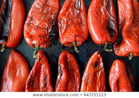 Stockfoto: Rood · paprika · zwarte · dienblad · voedsel