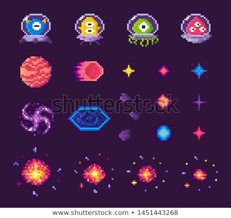 Pixel Game Icons, Planets Space Celestial Bodies Stock photo © robuart