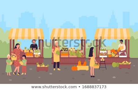 Market Place with Vegetables and Fruit Vector Stock photo © robuart