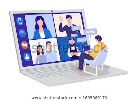 Webinar weboldal férfi dolgozik laptop vektor Stock fotó © robuart