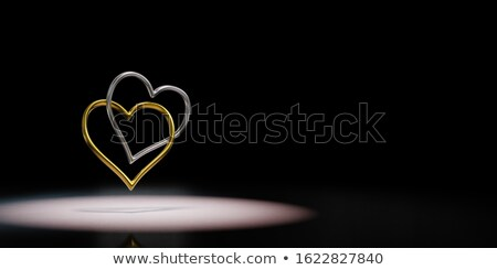 Two Golden Rings Chained Spotlighted on Black Background 3D Illustration Stock photo © make