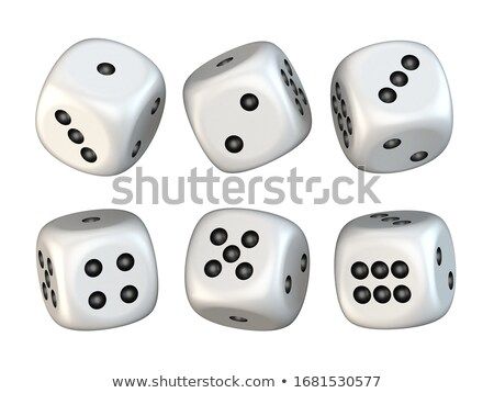 Six white game dices randomly rotated 3D Stock photo © djmilic