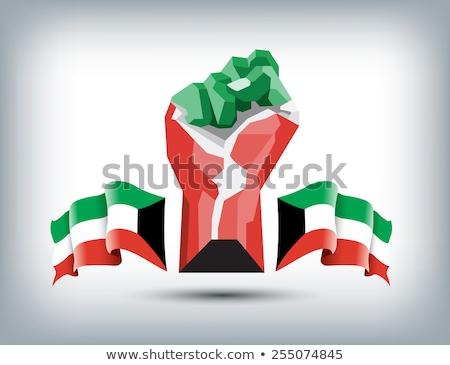 Koeweit vlag hand witte abstract teken Stockfoto © butenkow
