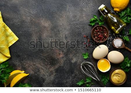 Eigengemaakt mayonaise saus bestanddeel koken ei Stockfoto © furmanphoto