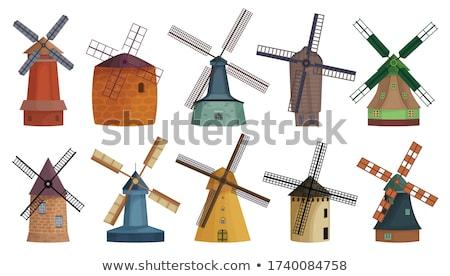 Tradycyjny holenderski wiatrak małe miasto Niderlandy niebo Zdjęcia stock © Melnyk