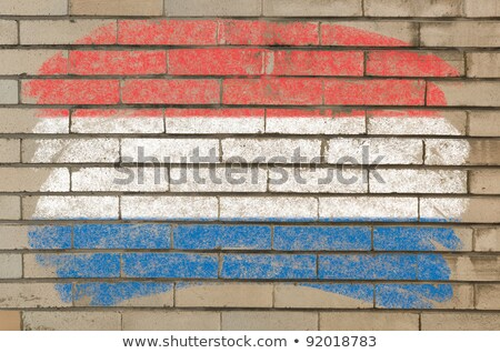 Flag Of Netherlands On Grunge Brick Wall Painted With Chalk Foto stock © vepar5