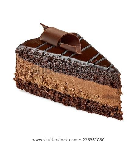 gâteau · au · chocolat · argent · fourche · tranche · noir · plaque - photo stock © zhekos