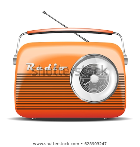 oranje · radio · glanzend · knop · geïsoleerd · witte - stockfoto © shutswis