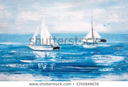 Zeilschip bevestigd pier zee zeilen lifestyle Stockfoto © cosma