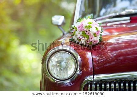 White Car with Flower Bouquet Stock photo © tepic