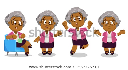 cartoon woman in spectacles waving Stock photo © lineartestpilot