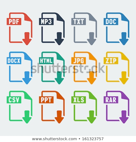 ストックフォト: Mp3 · ダウンロード · 赤 · ベクトル · アイコン · デザイン
