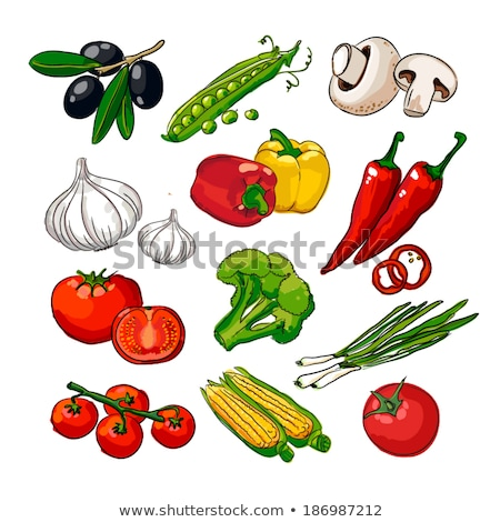 Set of fresh vegetables cherry tomato pepper garlic chili and parsley Stock photo © LoopAll