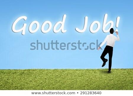 Hombre escrito cielo buena Trabajo palabra Foto stock © fuzzbones0