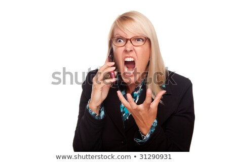 Angry blonde screaming with hands up  Stock photo © wavebreak_media