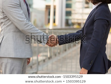 Stock photo: Side view of businesspeople shaking hands with each other