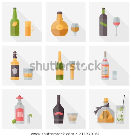 Fles alcohol vector stijl ontwerp likeur Stockfoto © robuart