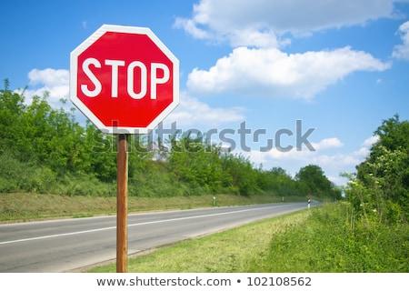 verbod · verkeersbord · hemel · wolken · auto · weg - stockfoto © oakozhan