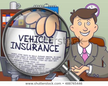 Pojazd ubezpieczenia obiektyw gryzmolić człowiek Zdjęcia stock © tashatuvango