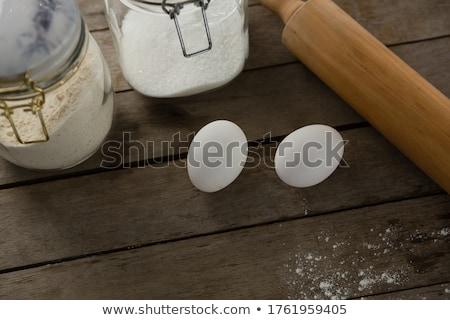 Sodrófa tojások üveg fa asztal közelkép telefon Stock fotó © wavebreak_media