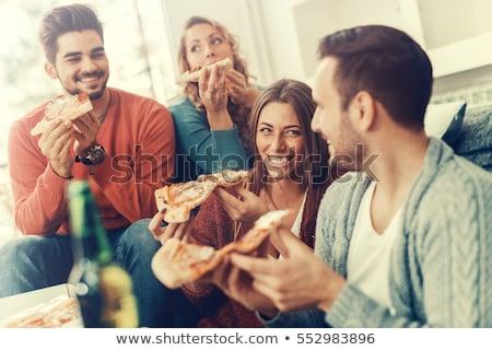 alimentação · pizza · casa · comida · televisão - foto stock © dolgachov