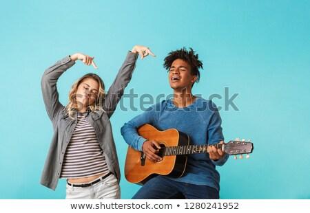 mutlu · genç · çift · konuşma · zaman - stok fotoğraf © deandrobot
