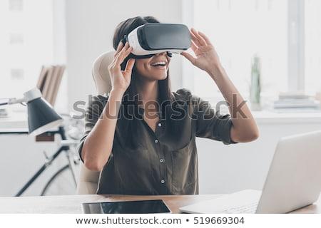 kadın · sanal · gerçeklik · kulaklık · 3d · gözlük · modern - stok fotoğraf © dolgachov