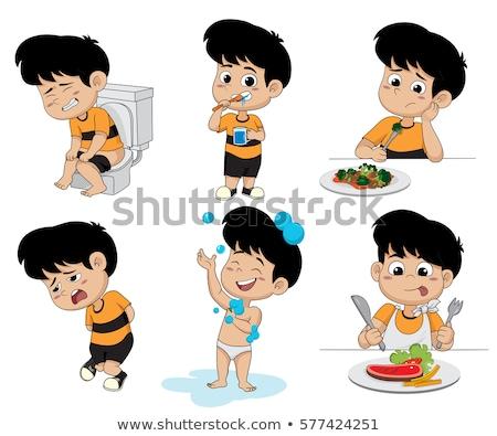 Fiú elvesz wc illusztráció mosoly férfi Stock fotó © bluering
