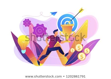 Business missie zakenman trofee lopen Stockfoto © RAStudio