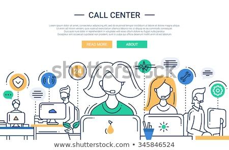 Centre d'appel bannière tête service clients ordinateurs Consulting Photo stock © RAStudio