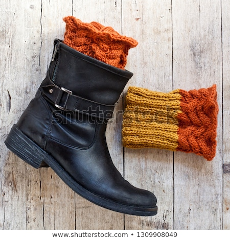 black leather boot and knitted wood legwarmers  Stock photo © marylooo