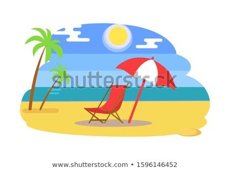 krzesło · parasol · tropikalnej · plaży · projektu · niebieski - zdjęcia stock © robuart