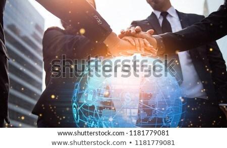 close up of businessman with bitcoin block chain stock photo © dolgachov